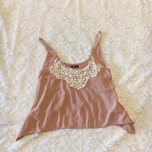 Pink crop top with crotchet neckline